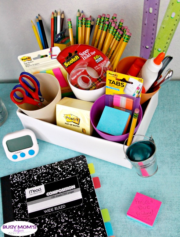 Homework Station for Teens & Tweens with DIY Pencil Caddy Tutorial #ad #BackToSchoolGoals18 #homework #teens #school