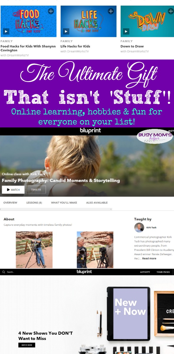 Ultimate Gift That Isn't 'Stuff' #AD Give the gift of learning, hobbies & fun with a huge variety of online courses! Everything from cooking & crafts, sewing & home decor, wood working & fitness, family & healthy eating - plus much more! Great gift idea for everyone on your list! @therealbluprint