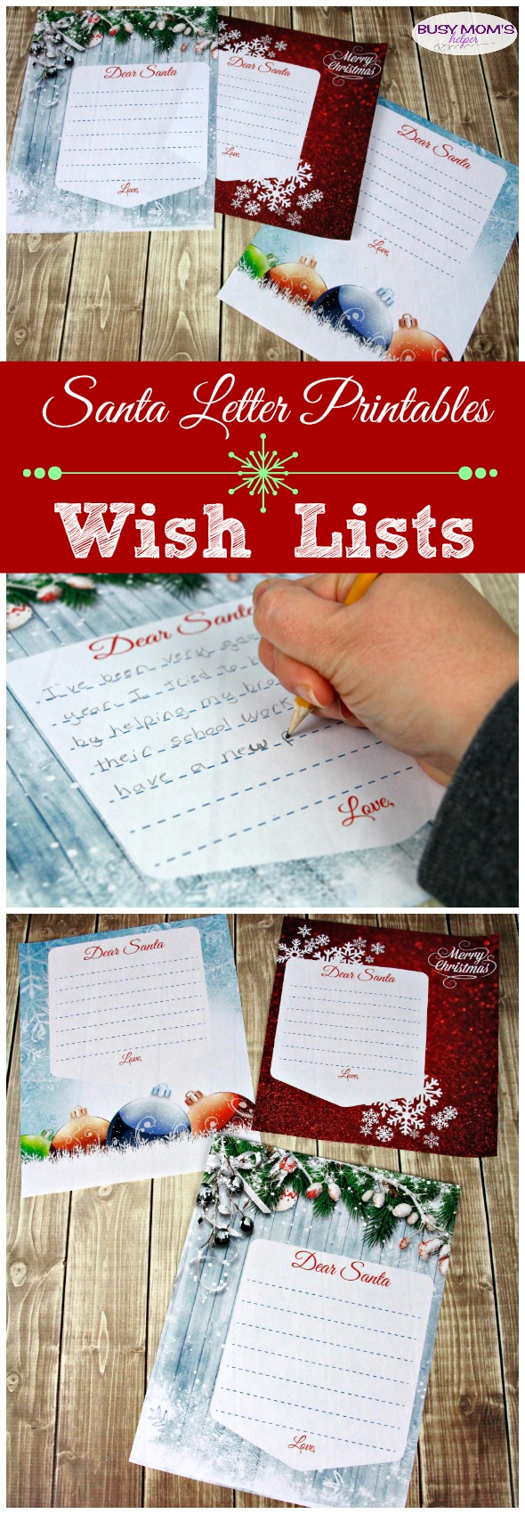 Santa Letter Printable Wish List / great free printable wish lists for the holidays! Three cute holiday designs for a letter to Santa #christmas #holidays #santa #wishlist #christmaslist #freeprintable #christmasprintable #santaletter #printablewishlist