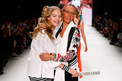 BERLIN, GERMANY - JUNE 28: Cheyenne Ochsenknecht and her mother Natascha walk the runway at the Riani show during the Mercedes-Benz Fashion Week Berlin Spring/Summer 2017 at Erika Hess Eisstadion on June 28, 2016 in Berlin, Germany. (Photo by Frazer Harrison/Getty Images for Riani) *** Local Caption *** Cheyenne Ochsenknecht; Natascha Ochsenknecht