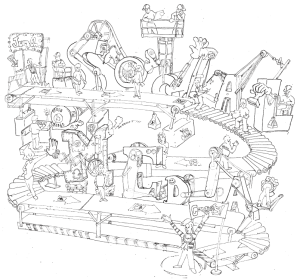 """Rube Goldberg style illustration with the words """"Social Media"""""""