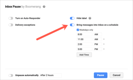 Inbox pause settings lets you choose the times you release the email and add email addresses to whitelist.