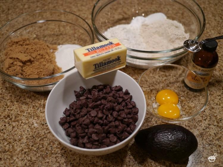 Avocado Chocolate Chip Cookies ingredients