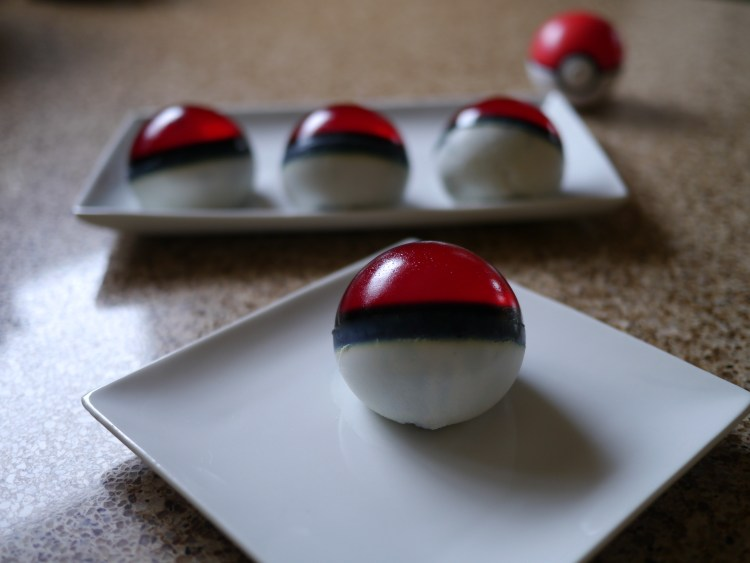 Strawberry Jello and Vanilla Panna Cotta Pokeballs