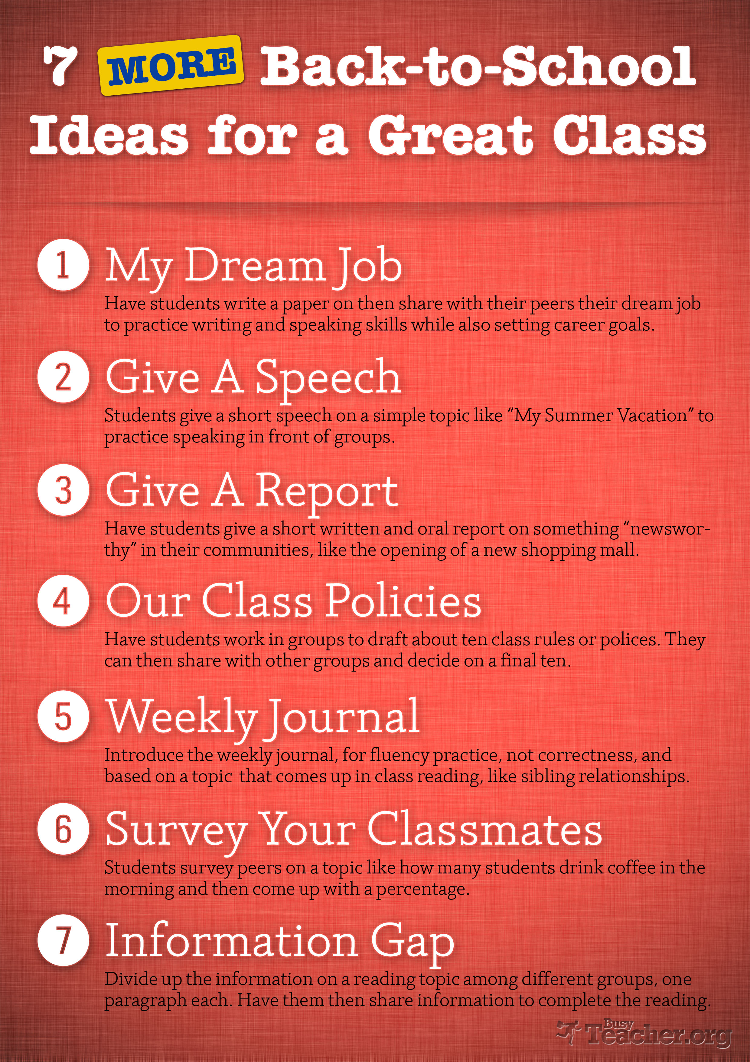 7 More Back To School Ideas For A Great Class Poster