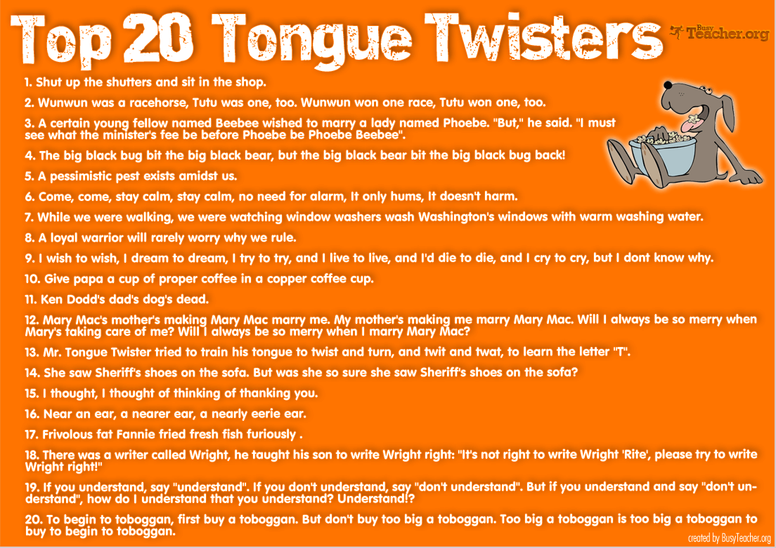 Top 20 Tongue Twisters