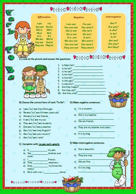 Verb To Be Elementary Worksheet Ii