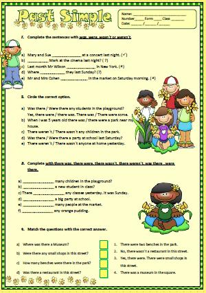 Was Or Were Simple Past Elementary Worksheet