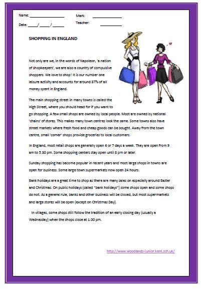 Shopping In England Reading Worksheet