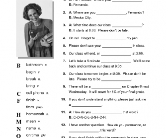 Classroom English Worksheet Vocabulary Gap Fill