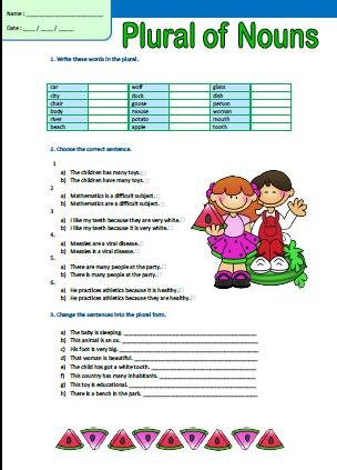 Plural Of Nouns Elementary Worksheet