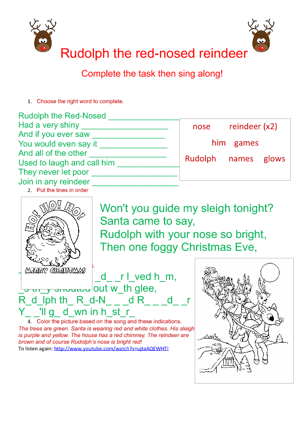 Song Worksheet Rudolph The Red Nosed Reindeer