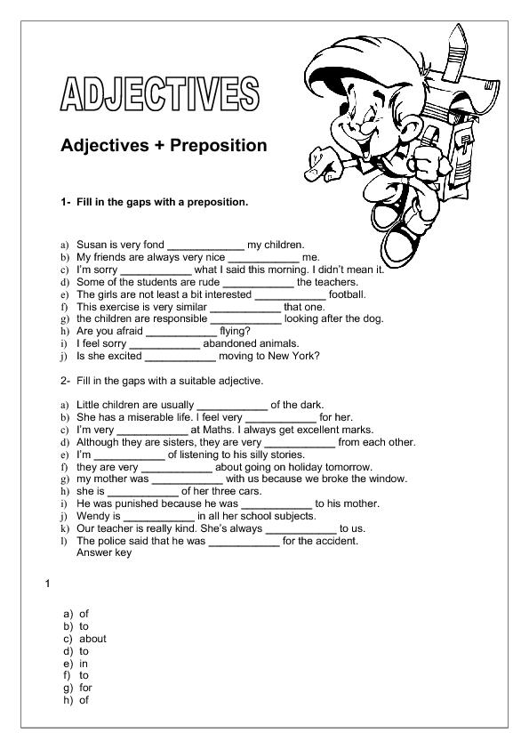 Adjectives Preposition Intermediate Worksheet