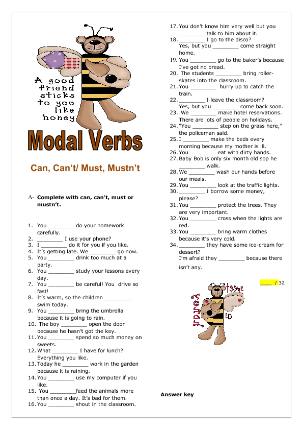 Can Cant Must Mustnt Elementary Worksheet