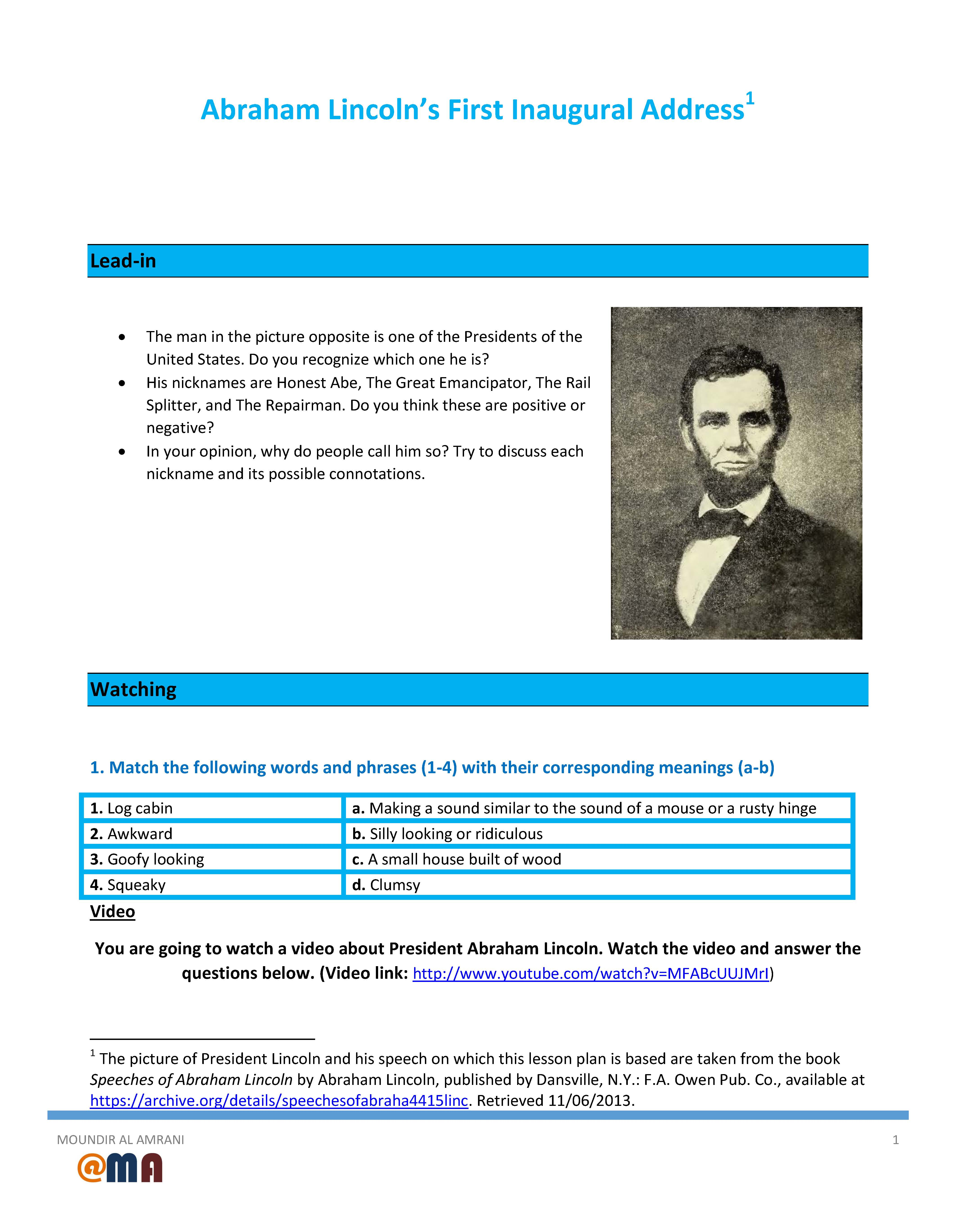 Movie Worksheet Abraham Lincoln S First Inaugural Address