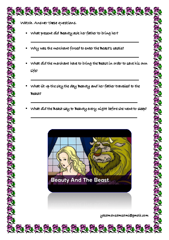 Movie Worksheet Beauty And The Beast