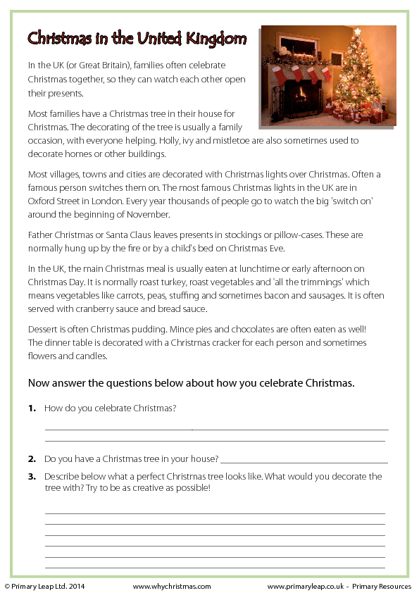 Reading Comprehension Christmas In The United Kingdom