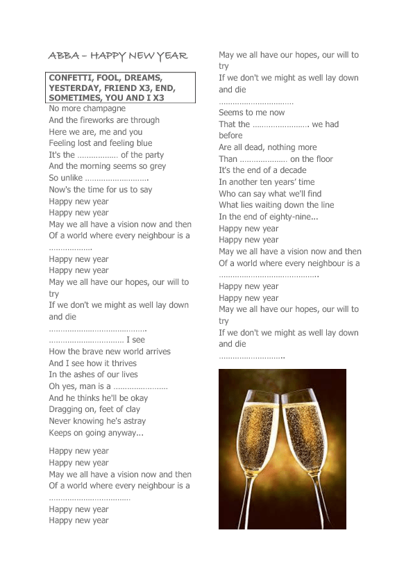 Song Worksheet Happy New Year By ABBA