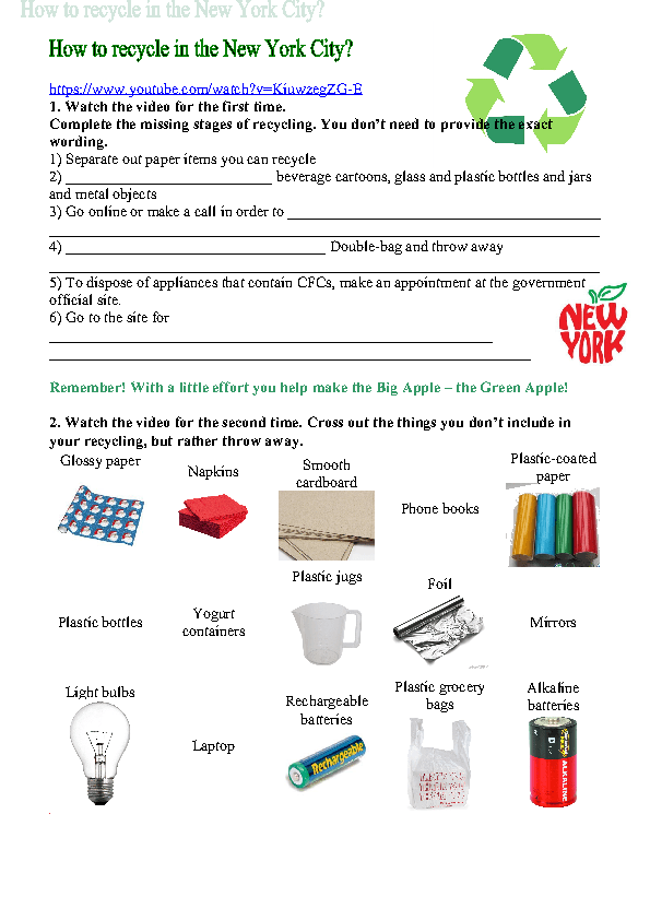 movie worksheet how to recycle in new york city