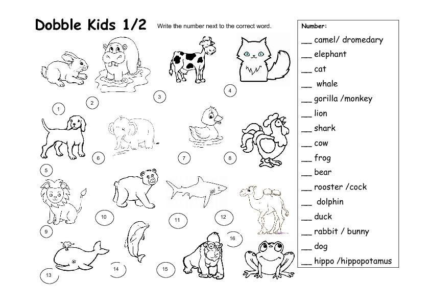 Dobble Kids Animal Worksheet