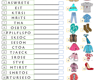 Clothes Unscramble And Match