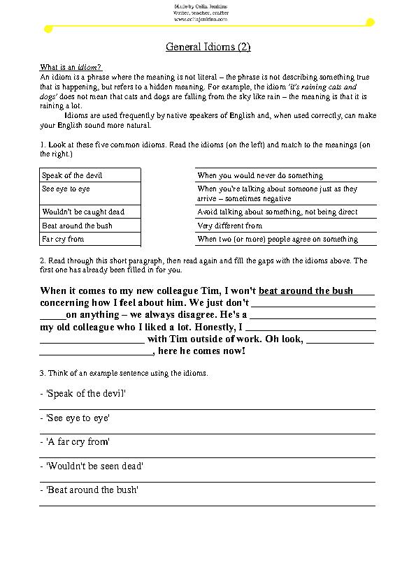 166 Free Idiom Worksheets