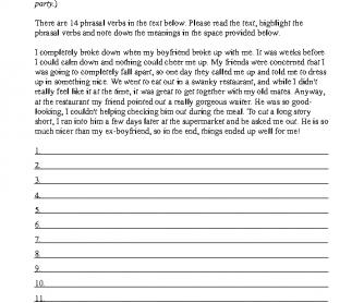 Phrasal Verbs Worksheet 1