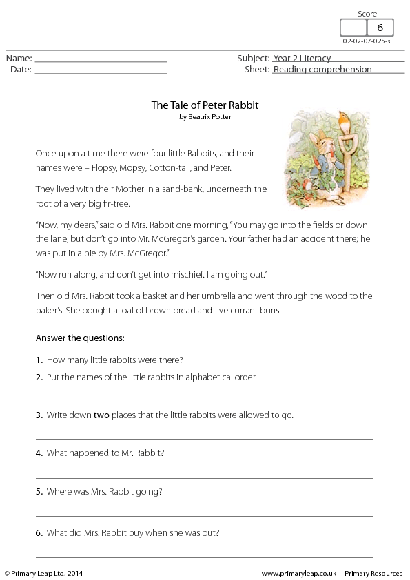 Reading Comprehension The Tale Of Peter Rabbit