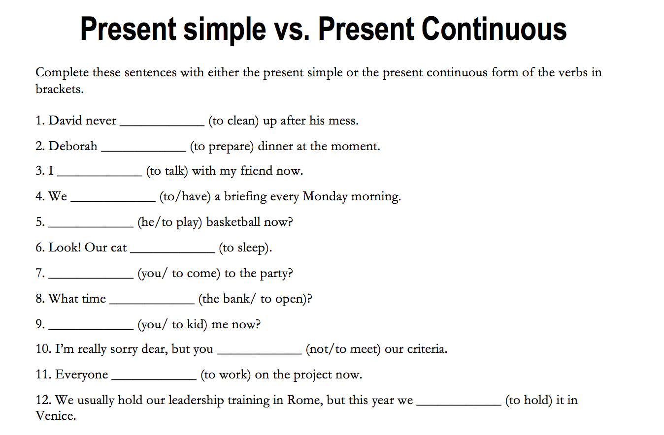 184 Free Present Simple Vs Present Continuous Worksheets