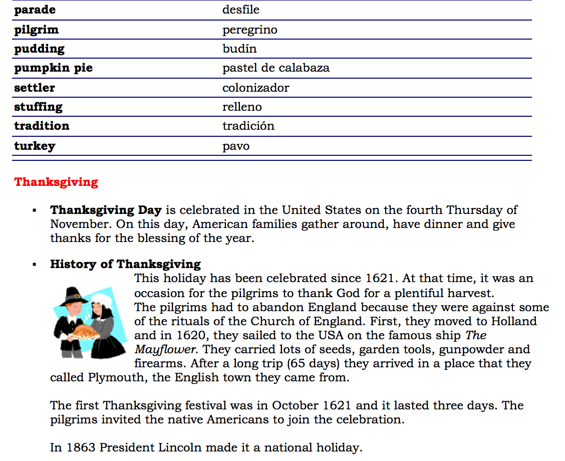 Thanksgiving Day Activities For First Grade