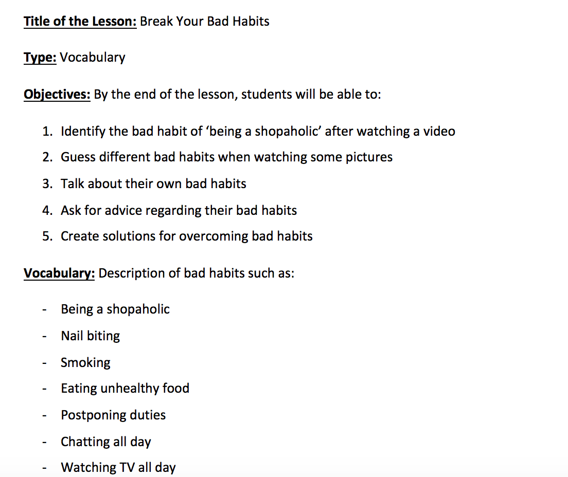 Bad Habits Lesson Plan