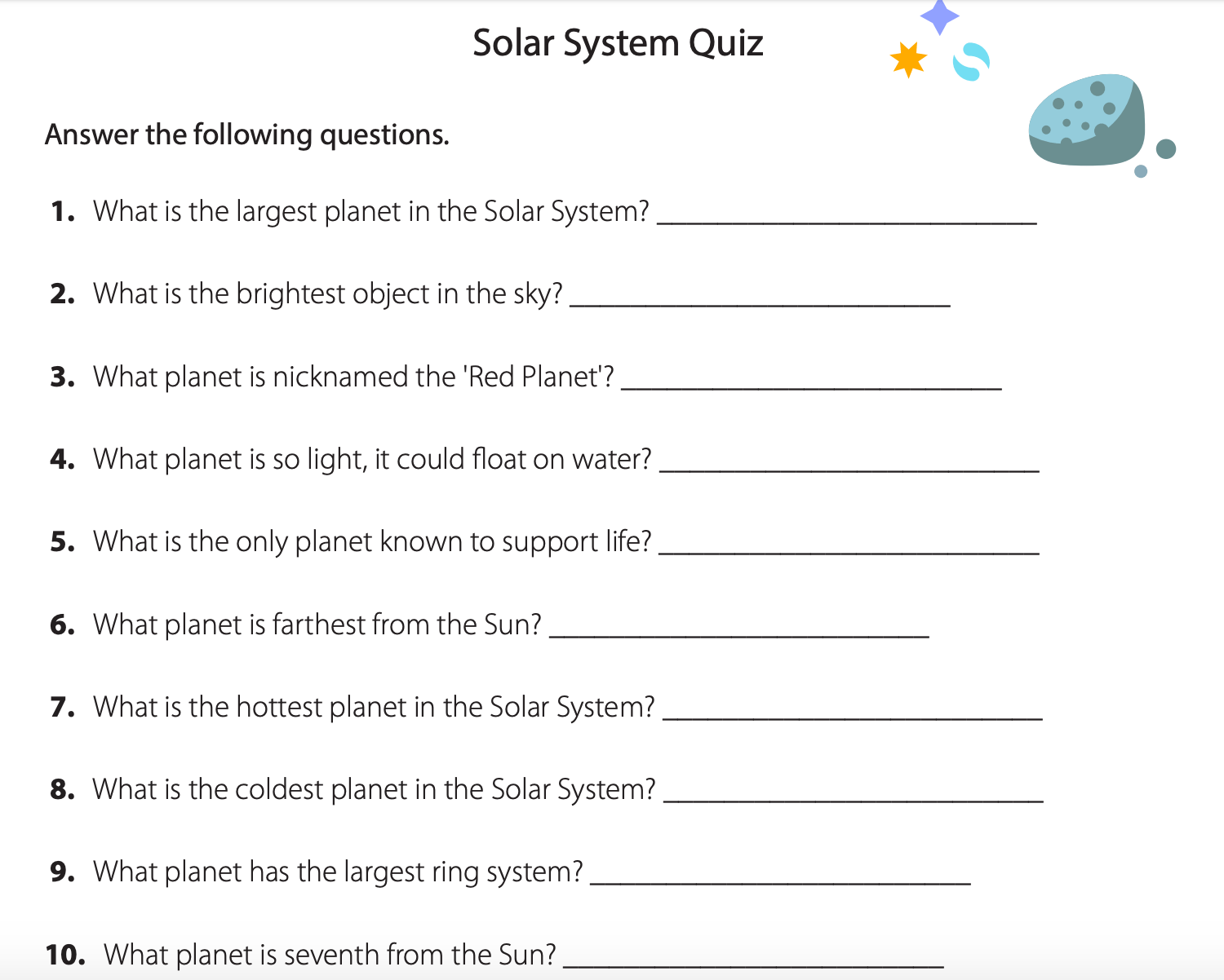 Easy Solar System Worksheets