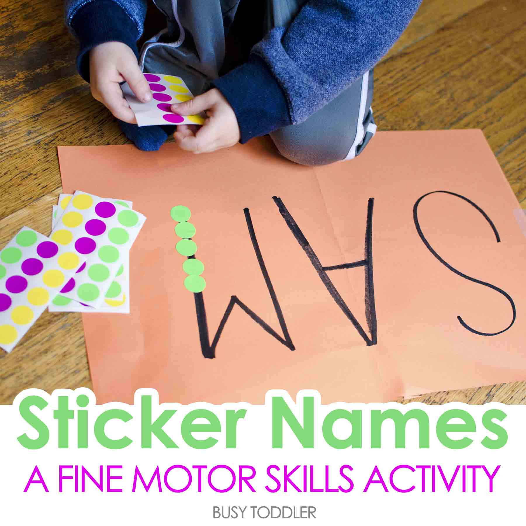 Sticker Names Toddler Activity