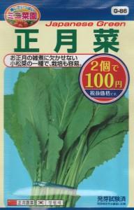 100均の種『正月菜』 品種名: 晩性小松菜 コスト: ¥54