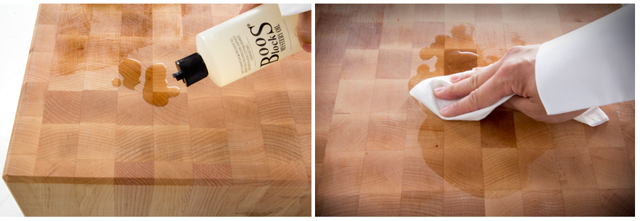 caring for butcher block with oil