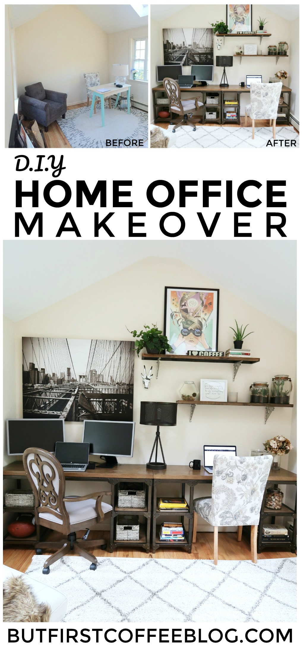 Home Office DIY Makeover | modern rustic home office