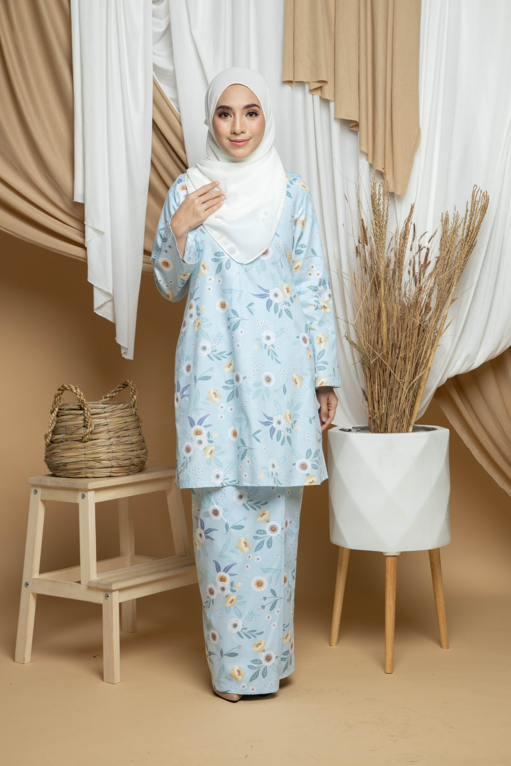 Dhiya Kurung Pahang - Light Blue