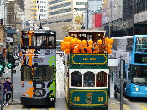 Trams with some orange event