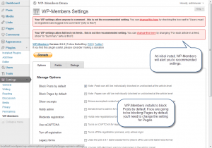 WP-Members installed settings
