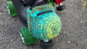 skate with crocheted toe guard