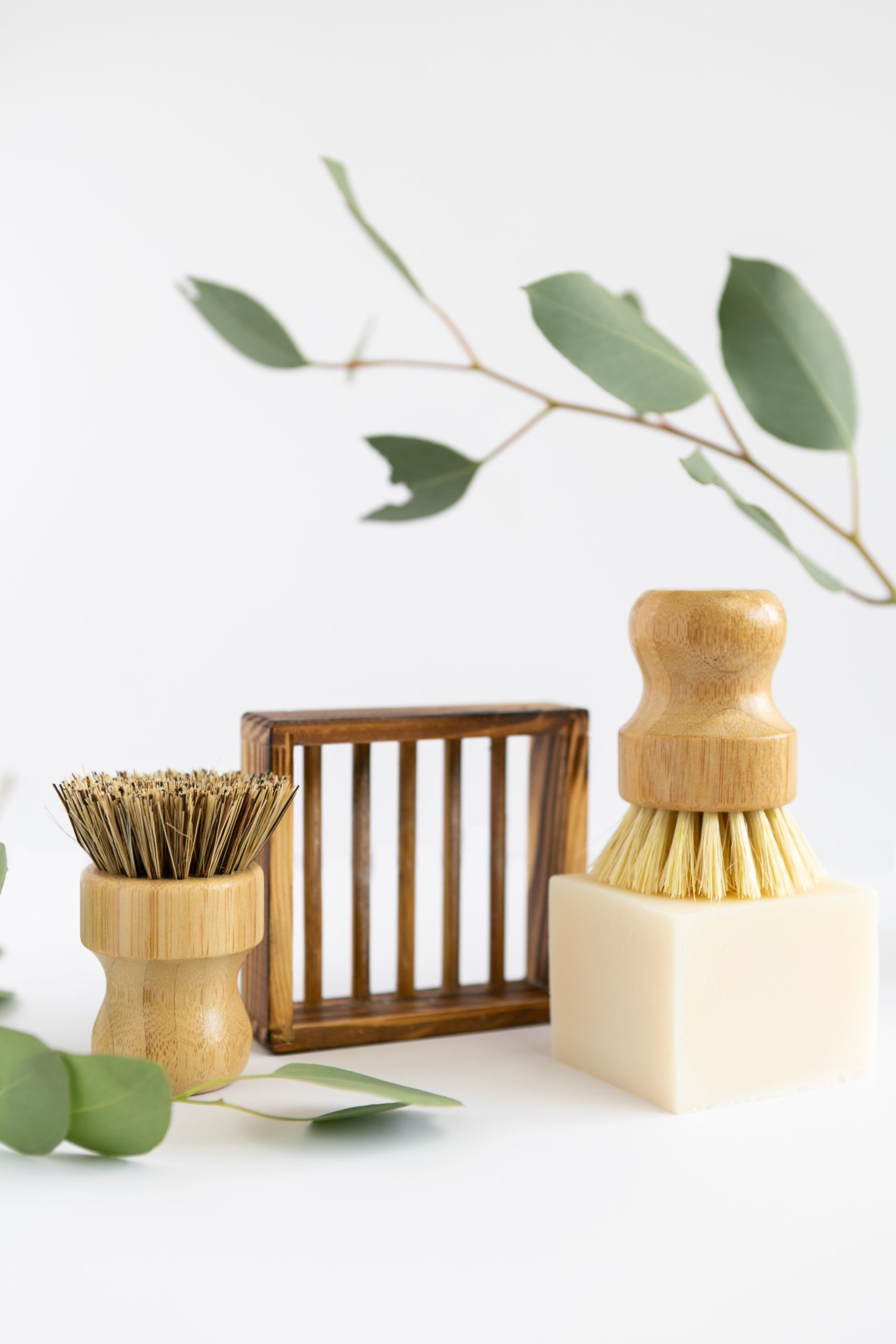 Bamboo Brush and Sandstone Soap Dish Sandstone Soap Dish is made of Engineered Stone with painted Bamboo Wood Grain design around the sides. All Natural Bamboo Dish Brush with Organic Union Bristles