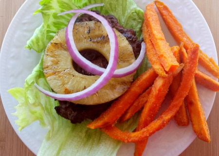 Hawaiian Hamburger with Sweet Potato Fries