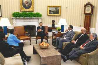 Butterfield meets with President Barack Obama in the Oval Office