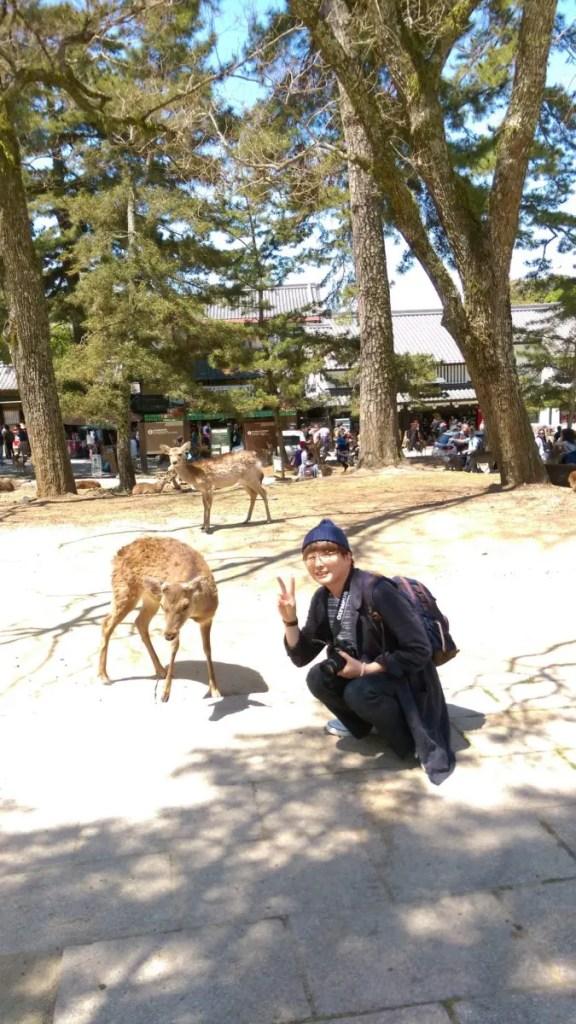 鹿と2ショット