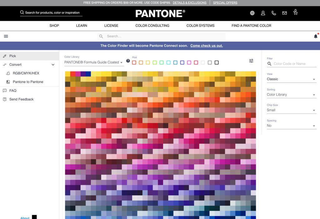 Pantone官方網站查找色票頁面