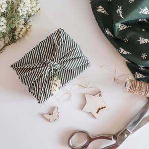 Green Stripe fabric for reusable gift wrap