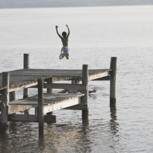 Child jumping in water-reckless and audacious prayer