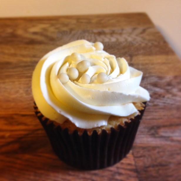 Vanilla cupcakes with swiss meringue buttercream.