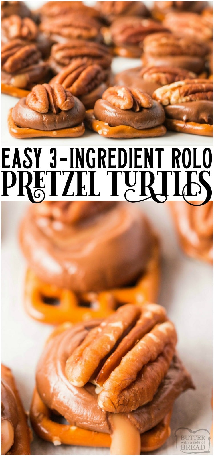 Rolo pretzel turtles are delicious salted caramel pretzel pecan bites that are made in minutes and are perfect holiday treats! #rolo #turtle #pretzels #candy #caramel #saltysweet #Christmascandy #dessert #recipe from BUTTER WITH A SIDE OF BREAD