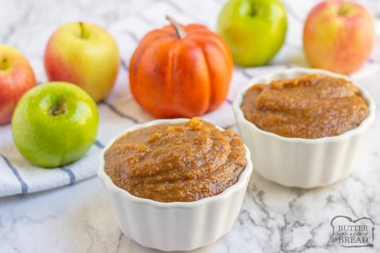 Crockpot Pumpkin Apple Butter recipe made with fresh apples, pumpkin puree and a blend of heavenly fall spices. Cooked slow to allow for a buttery smooth consistency and an incredible flavor!